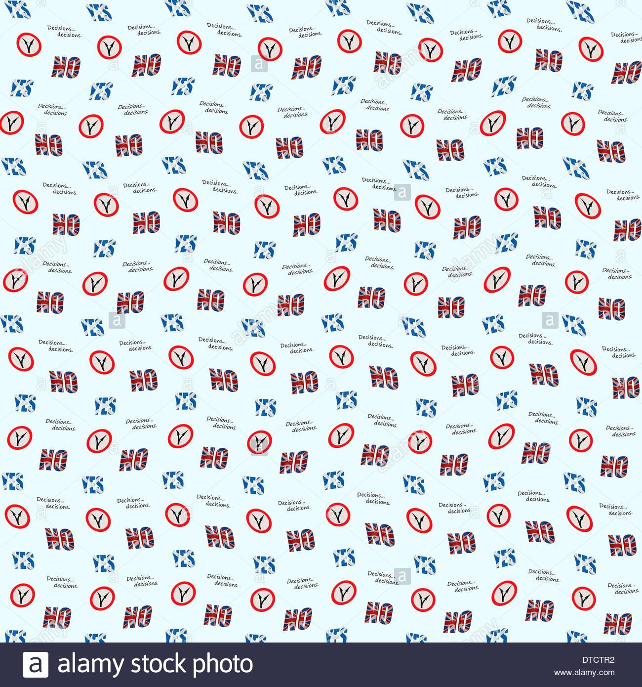 Digital Composition Concept - Decisions decisions wallpaper. Scottish independence referendum. - Stock Image