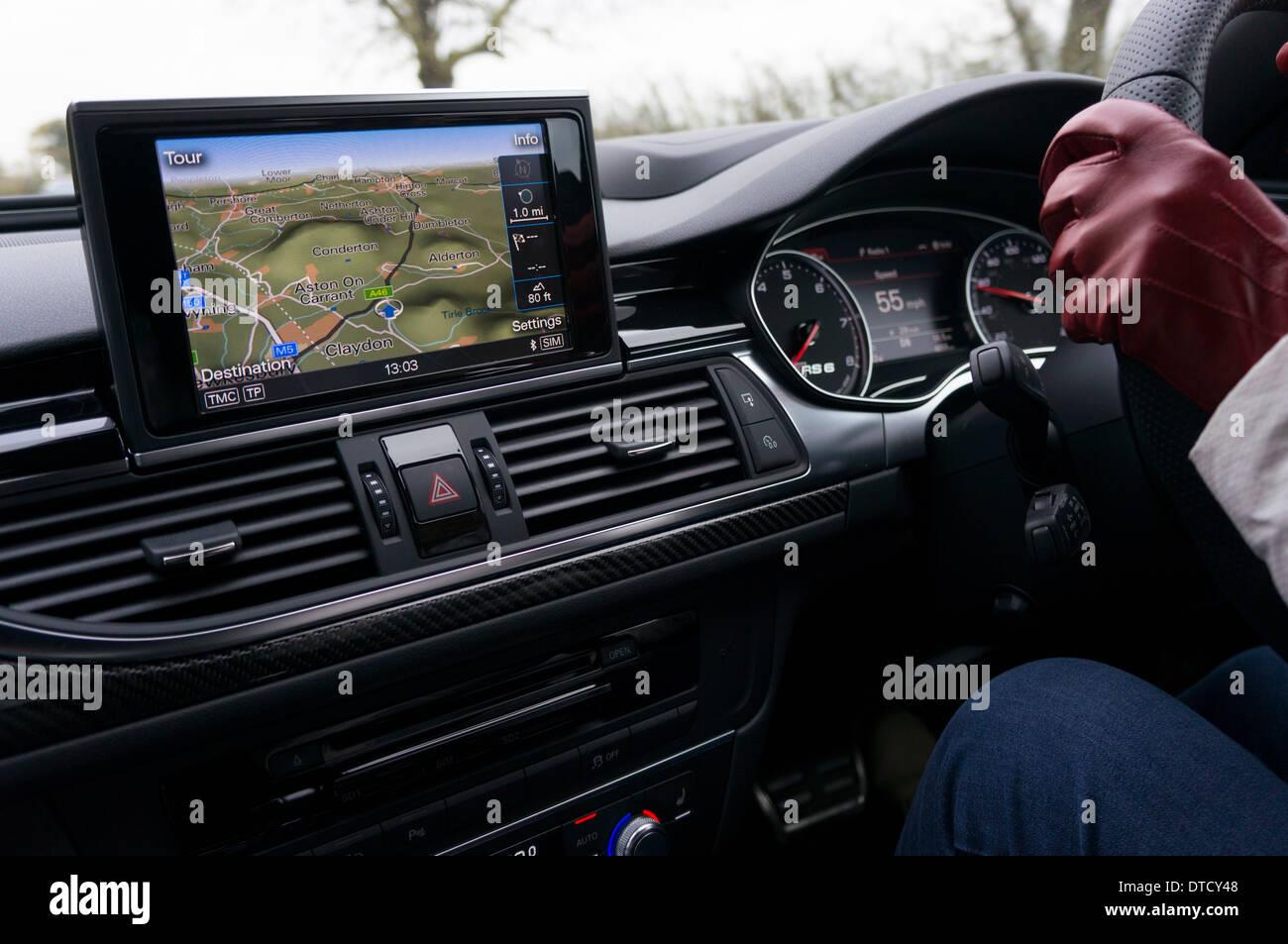 Driving car following satnav - Stock Image