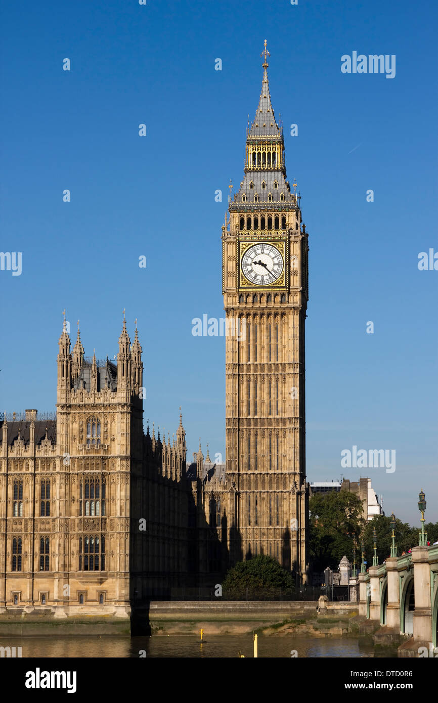 The Clock Tower of the Palace of Westminster (Houses of Parliament) in London, England. - Stock Image