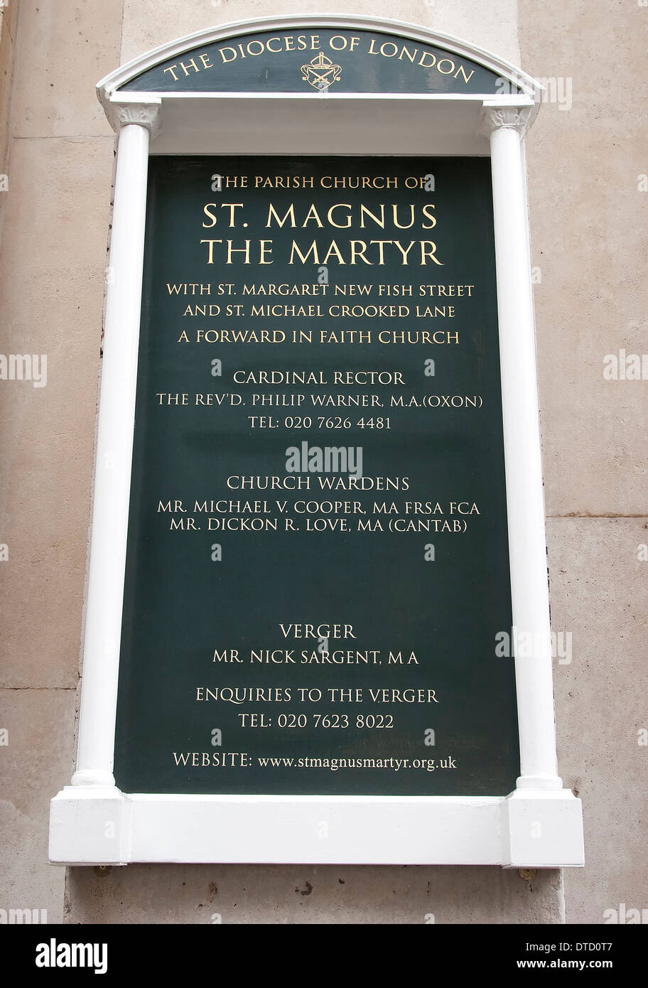 Information plaque for St Magnus The Martyr Church in London, England. - Stock Image
