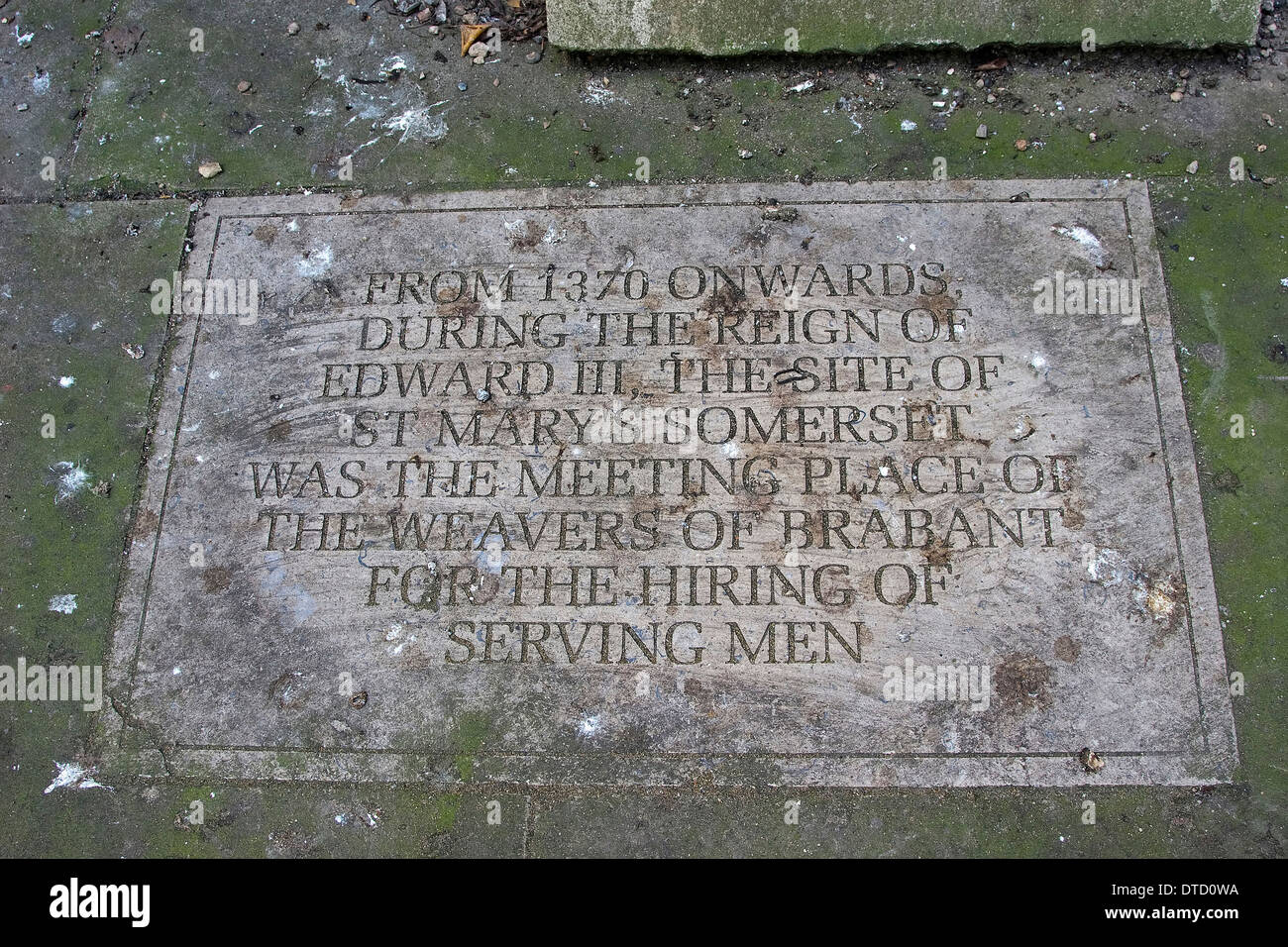A stone plaque on the ground outside St Mary Somerset Tower, London, England. Stock Photo