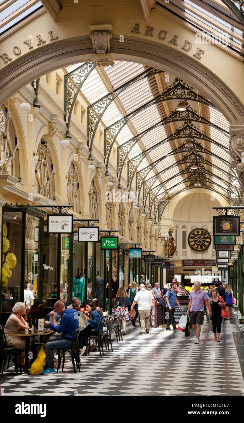 Royal Arcade shopping, Melbourne, Victoria, Australia - Stock Image