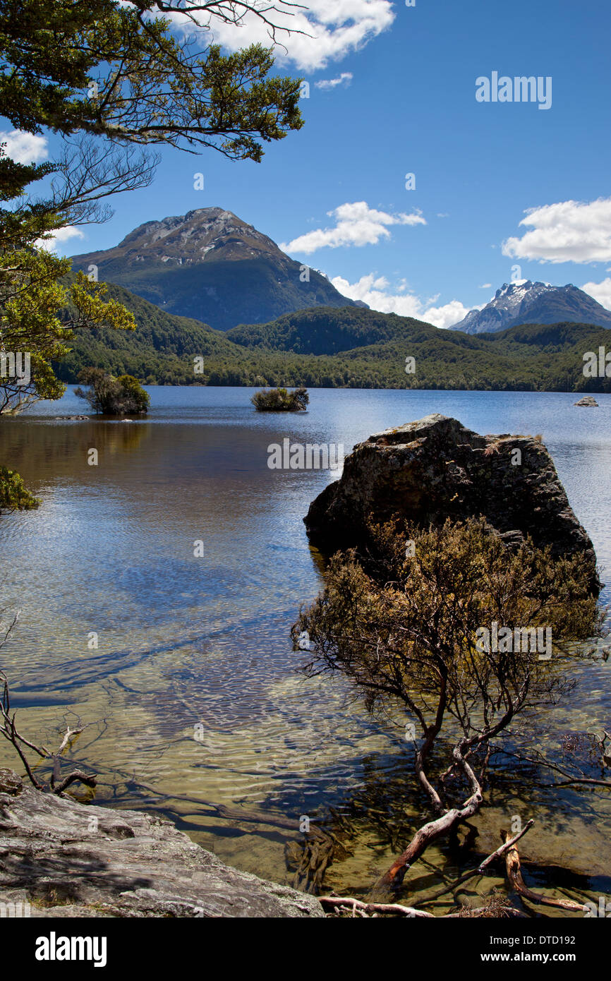 Lake Sylvan with Forbes Mountains in distance Mount Aspiring National Park, near Glenorchy, South Island, New Zealand - Stock Image
