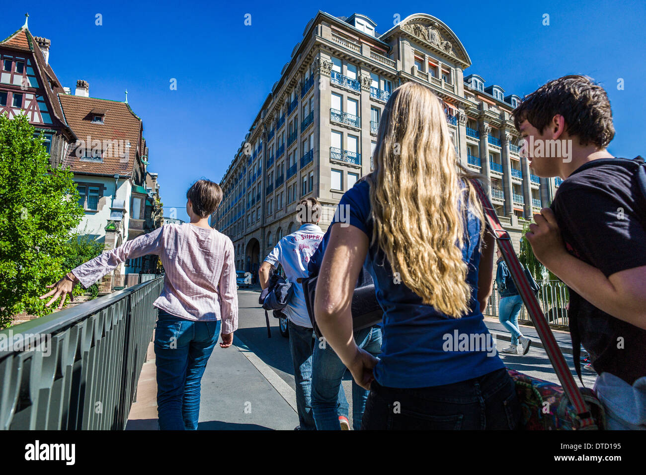 teen students walking to high school Strasbourg Alsace France Europe - Stock Image