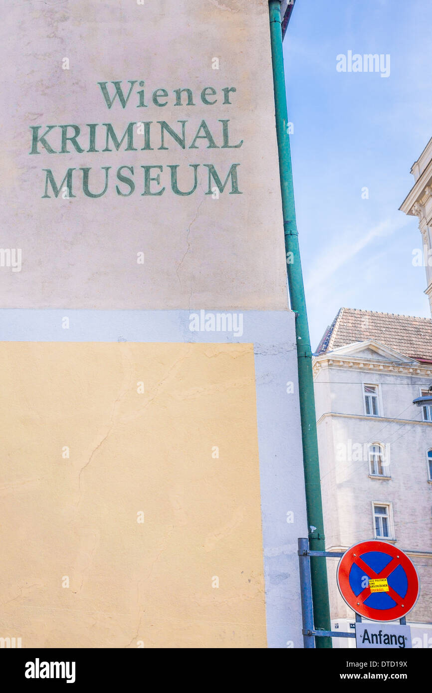 facade of the _crime museum_ located in the historical _seifensiederhaus_, 2nd district, vienna, austria - Stock Image