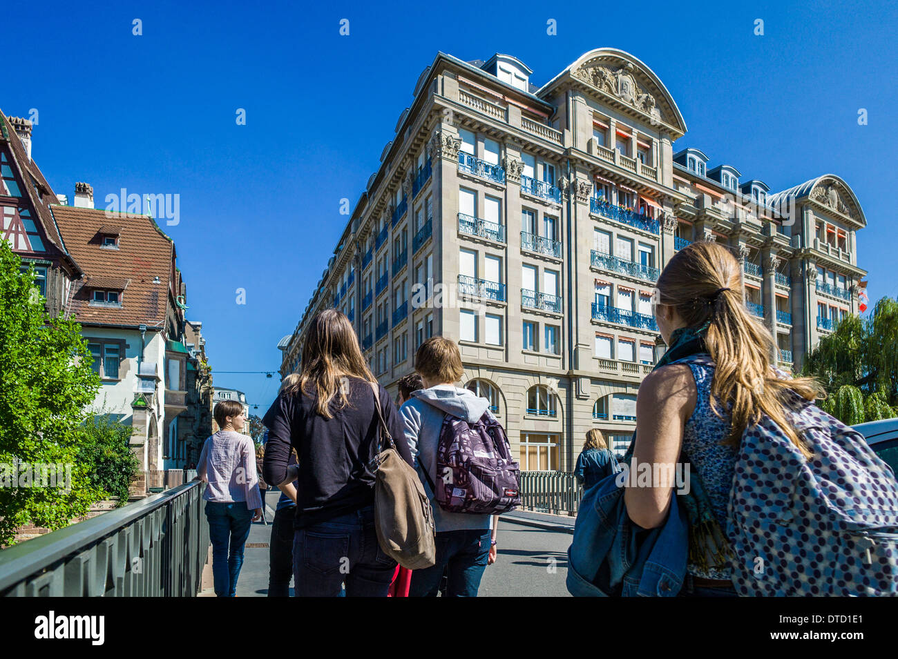 Students going to high school Strasbourg Alsace France - Stock Image
