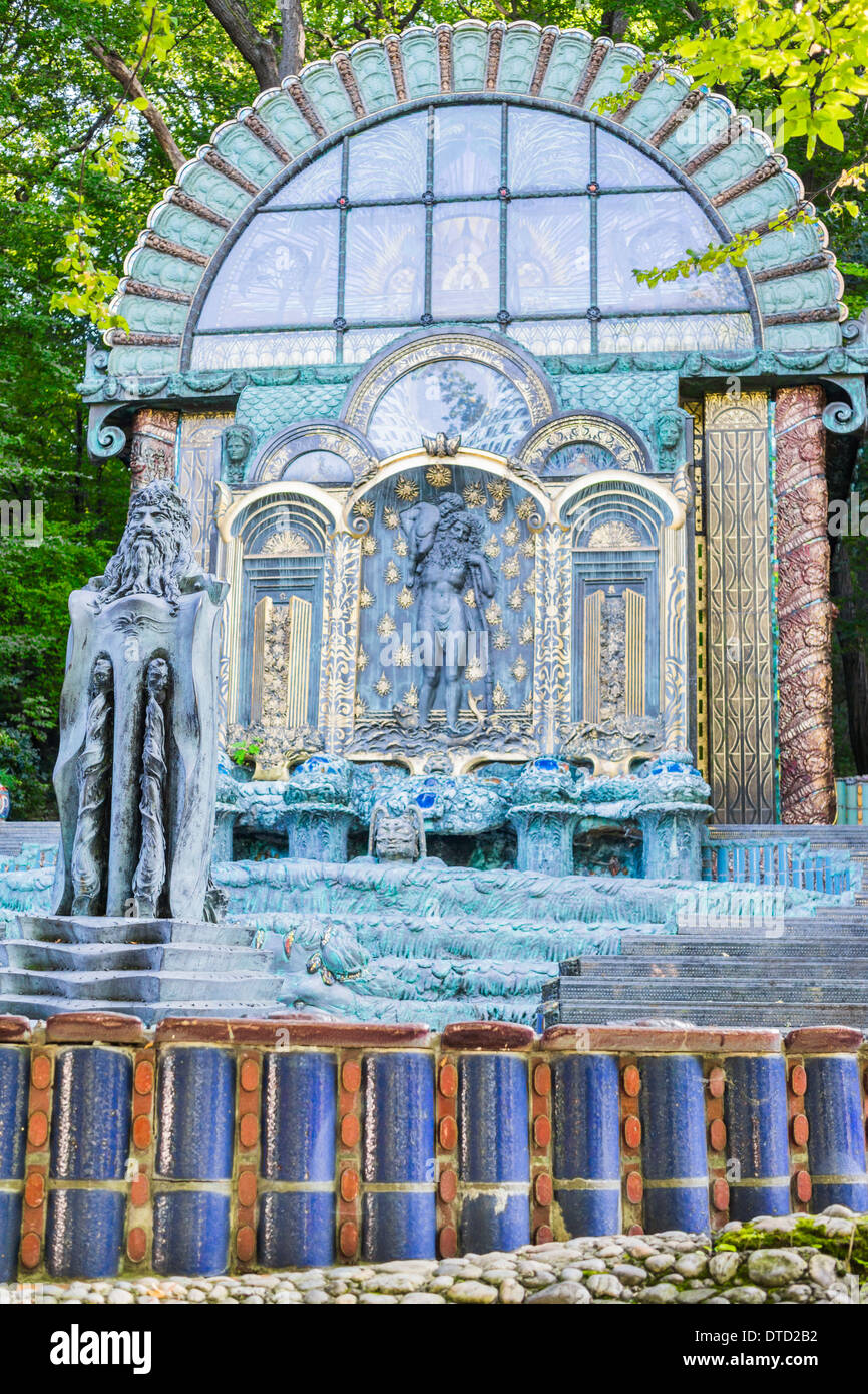 the so-called _nymphaeum omega_ in the garden of the ernst-fuchs-museum, vienna, austria - Stock Image