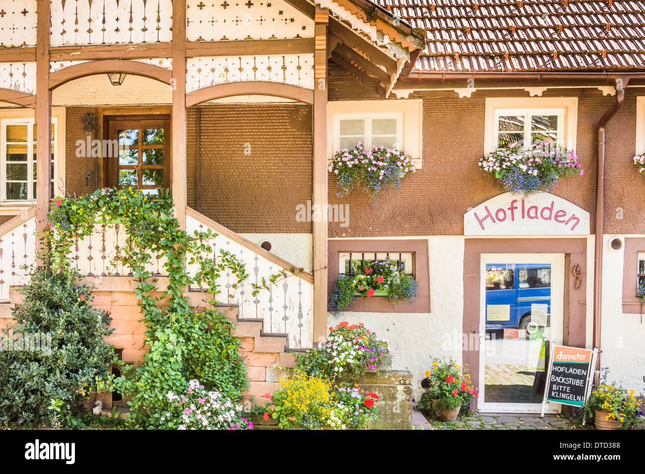 farm shop in the black forest region offering organic products, black forest, baden-wuerttemberg, germany Stock Photo