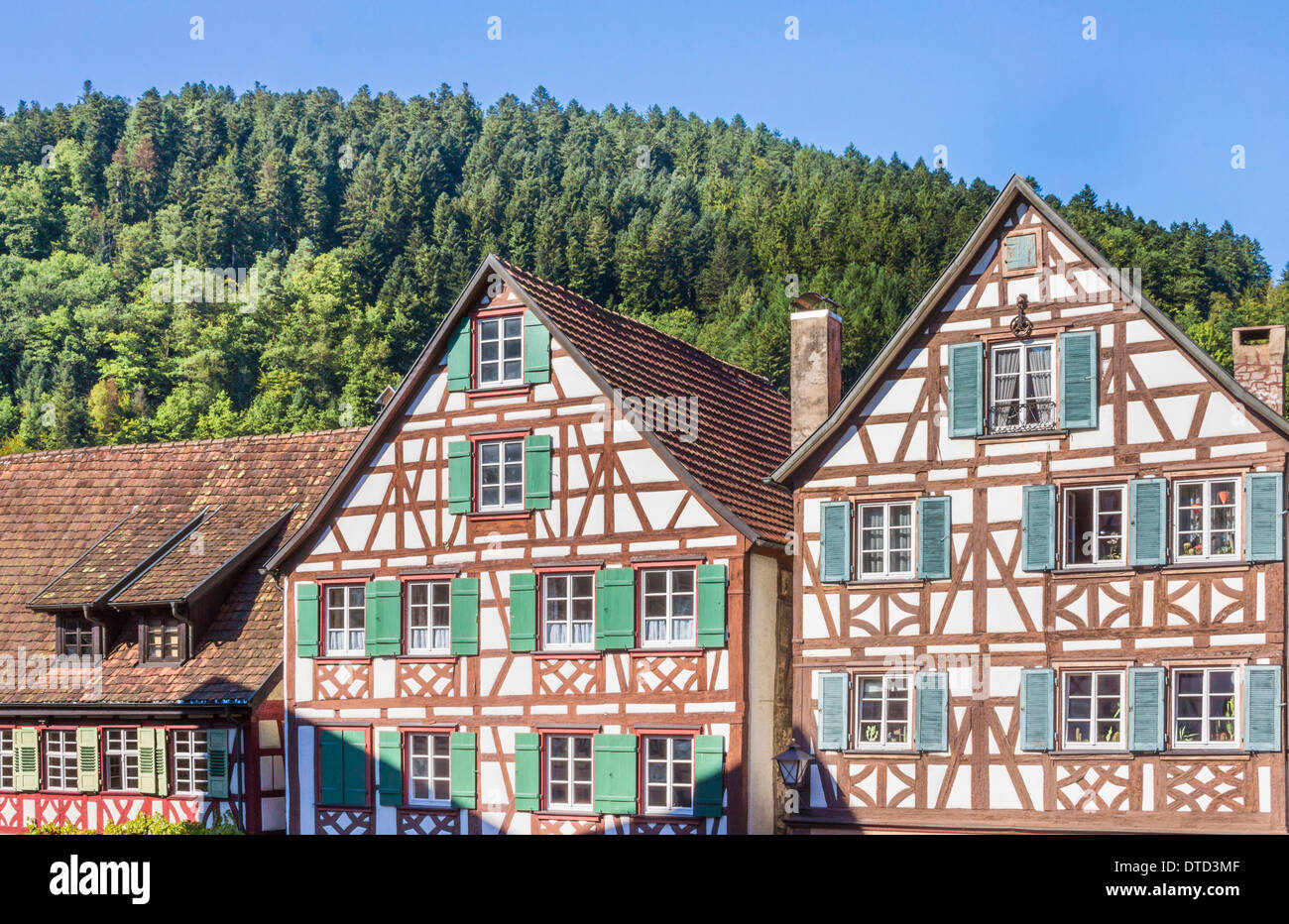 historic half-timbered houses at the market square of schiltach, black forest, baden-wuerttemberg, germany - Stock Image