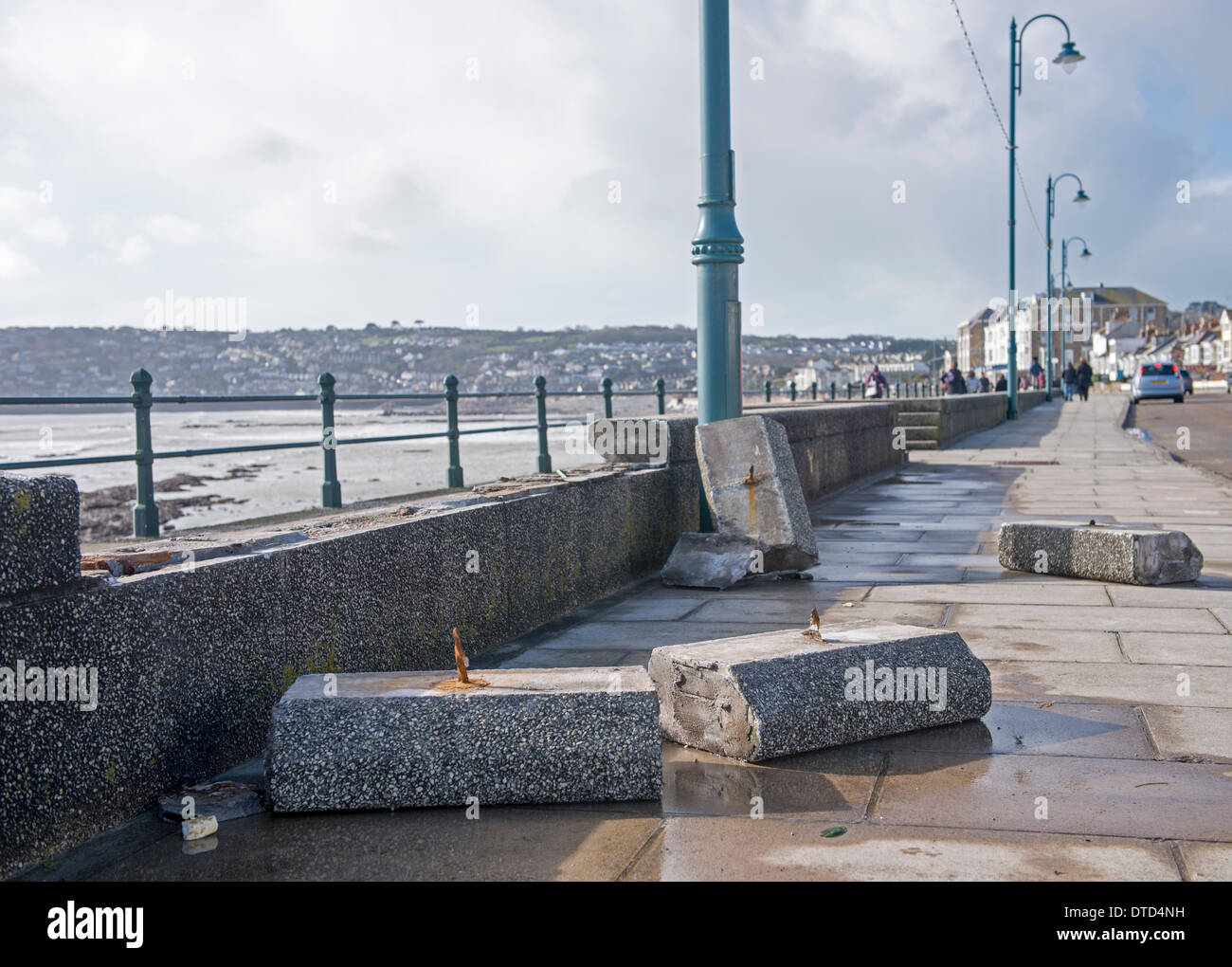 Significant damage caused to Penzance/Newlyn by a Valentines day storm the previous evening - Stock Image