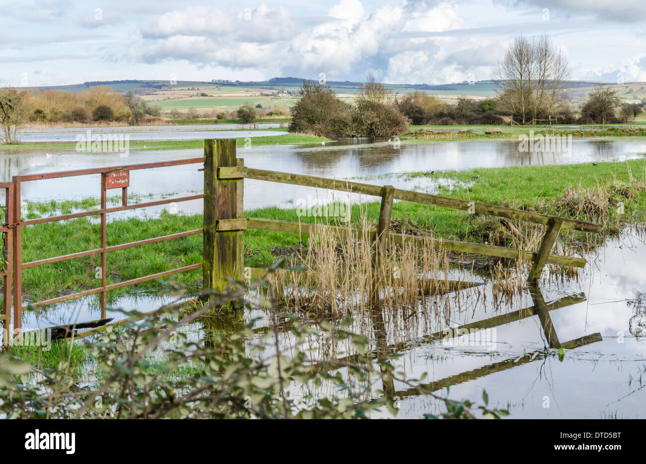 Flooded fields in Arundel, West Sussex, England, UK, after storms and heavy rain in February 2014. - Stock Image