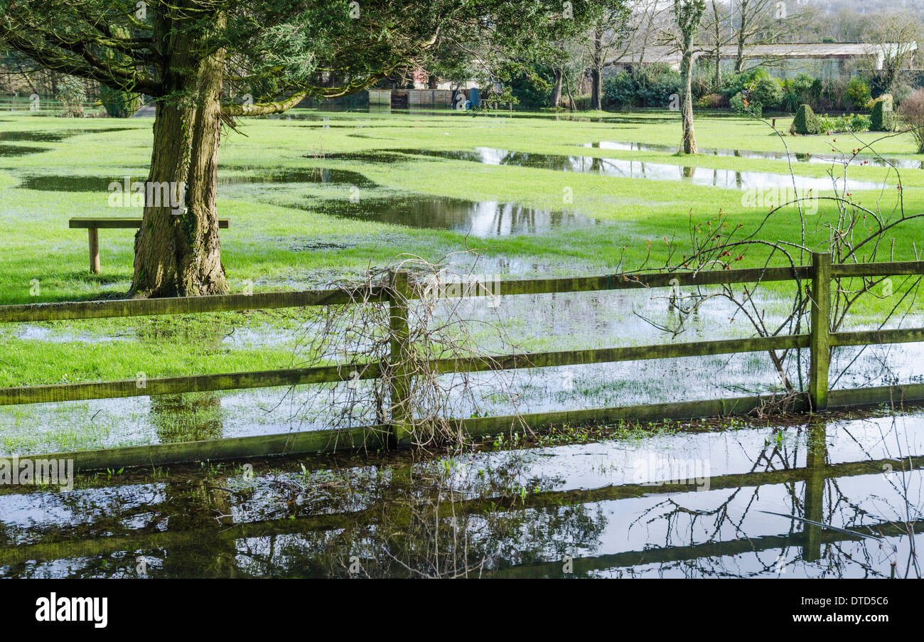 Flooding in a park in Arundel, West Sussex, England, UK after heavy rain in February 2014. - Stock Image
