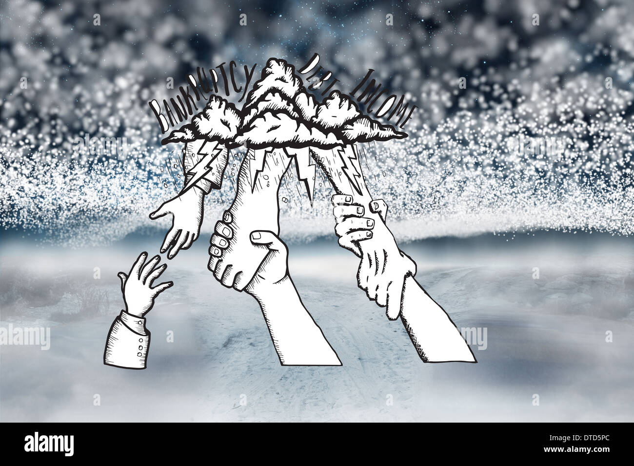 Composite image of bankruptcy and debt doodle with helping hands - Stock Image