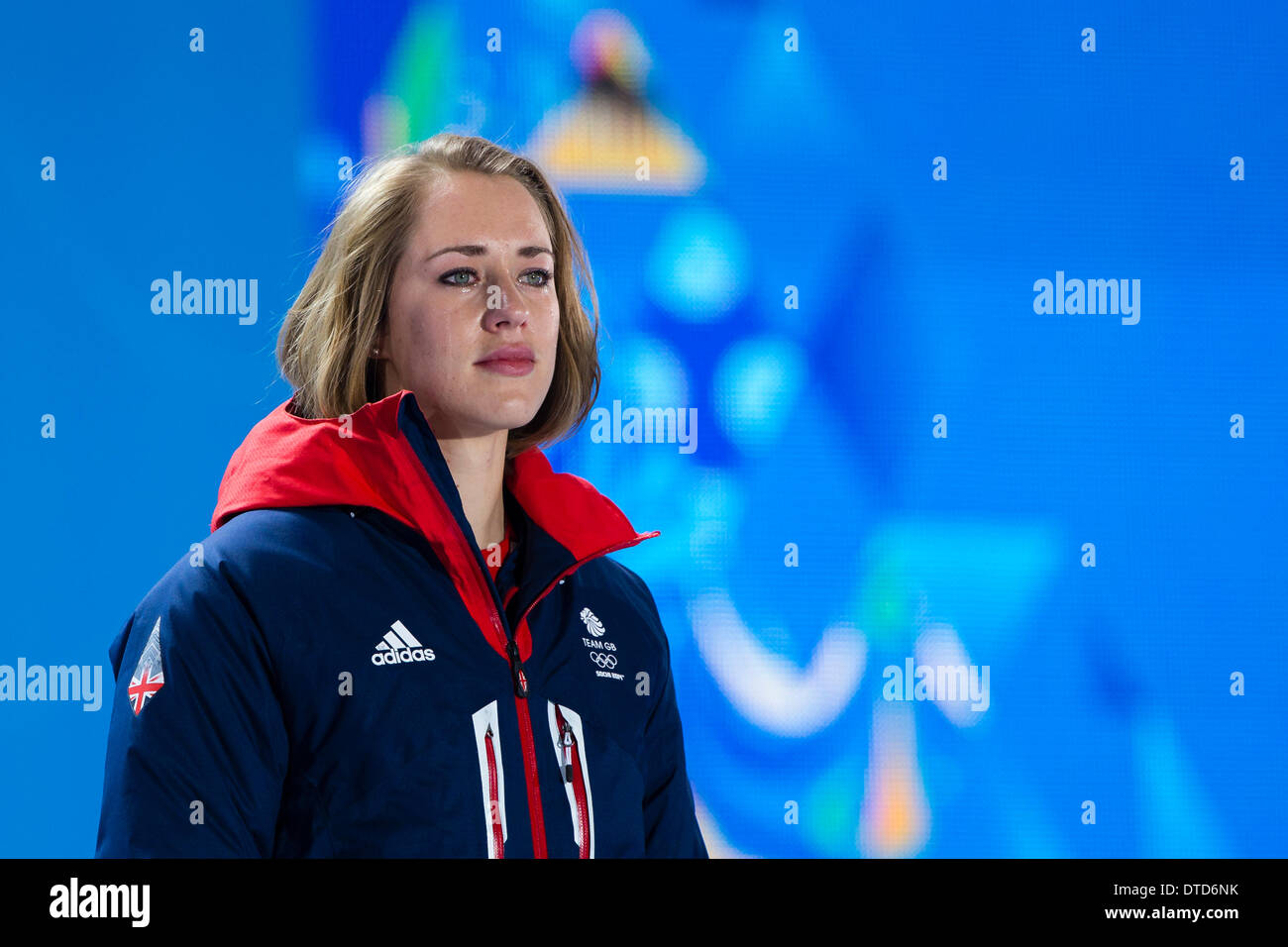 Sochi, Krasnodar Krai, Russia. 15th Feb, 2014. A tearful Lizzy YARNOLD (GBR) waits to receive her Gold medal during the Medal Ceremony for the Women's Skeleton at the Sochi Medals Plaza, Coastal Cluster - XXII Olympic Winter Games Credit:  Action Plus Sports/Alamy Live News - Stock Image