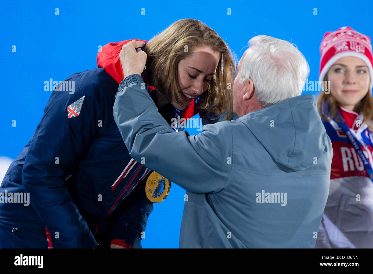 Sochi, Krasnodar Krai, Russia. 15th Feb, 2014. A tearful Lizzy YARNOLD (GBR) receives her Gold medal during the Medal Ceremony for the Women's Skeleton at the Sochi Medals Plaza, Coastal Cluster - XXII Olympic Winter Games Credit:  Action Plus Sports/Alamy Live News - Stock Image