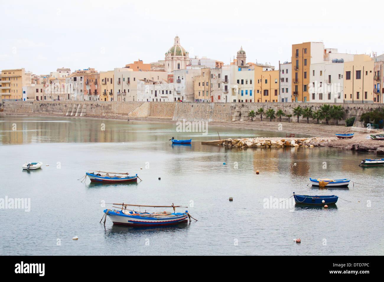 seafront city sea 'fishing boats' coast coastline overcast touristic - Stock Image