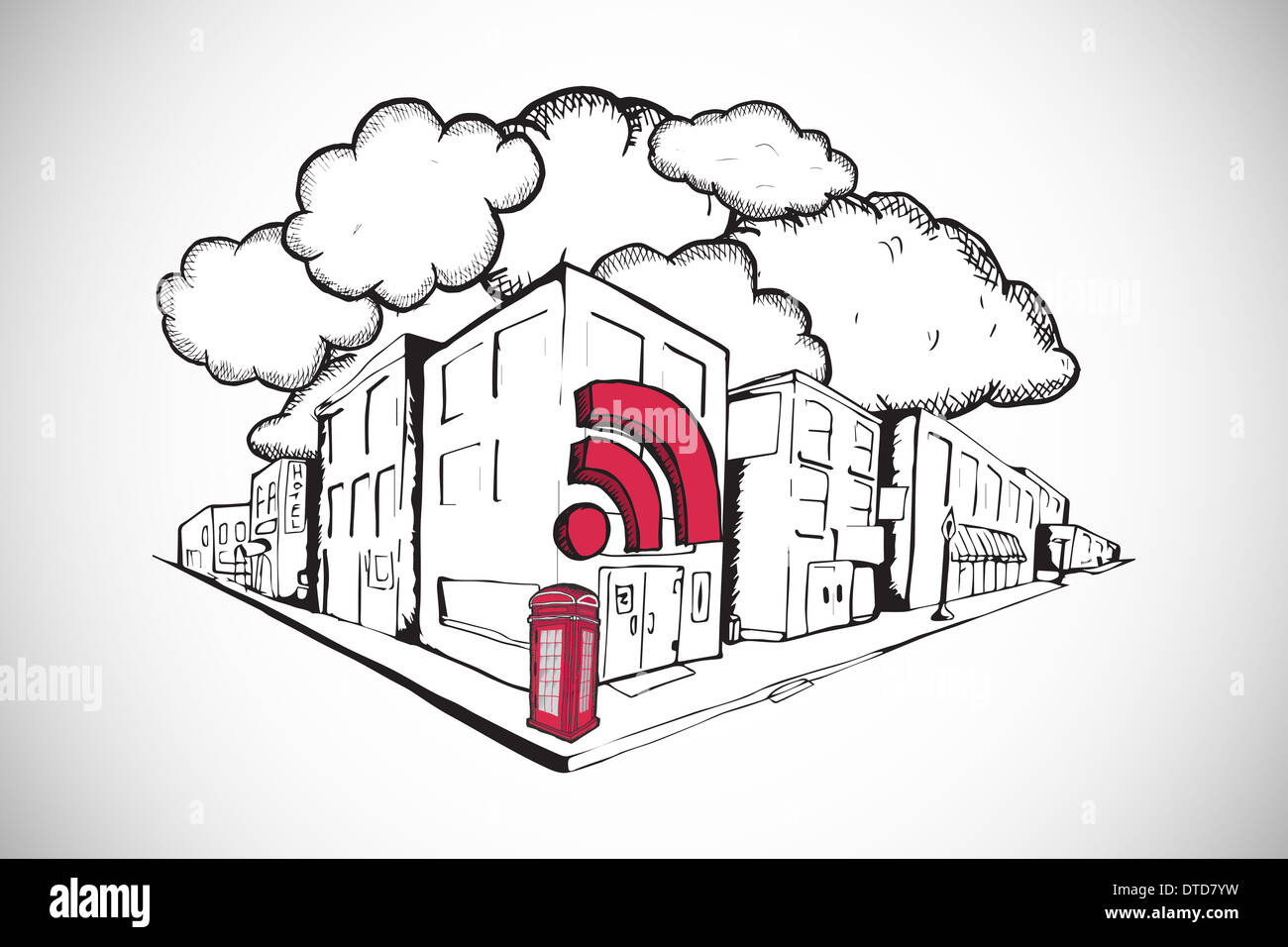 Composite image of phone box with wifi on street doodle - Stock Image