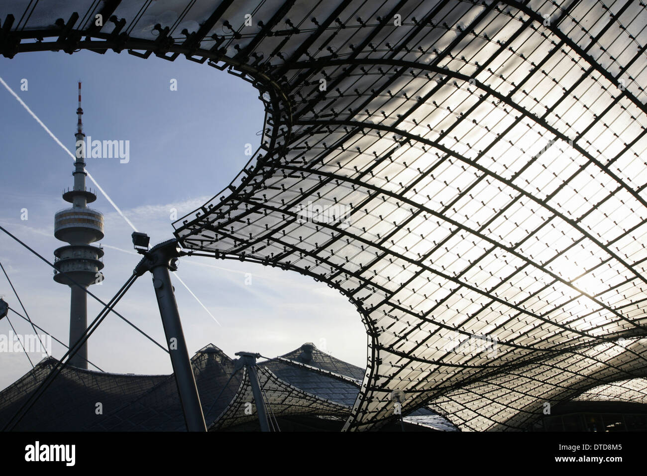 The Olympiaturm or Olympic Tower, Olympiapark, Munich, Germany. - Stock Image
