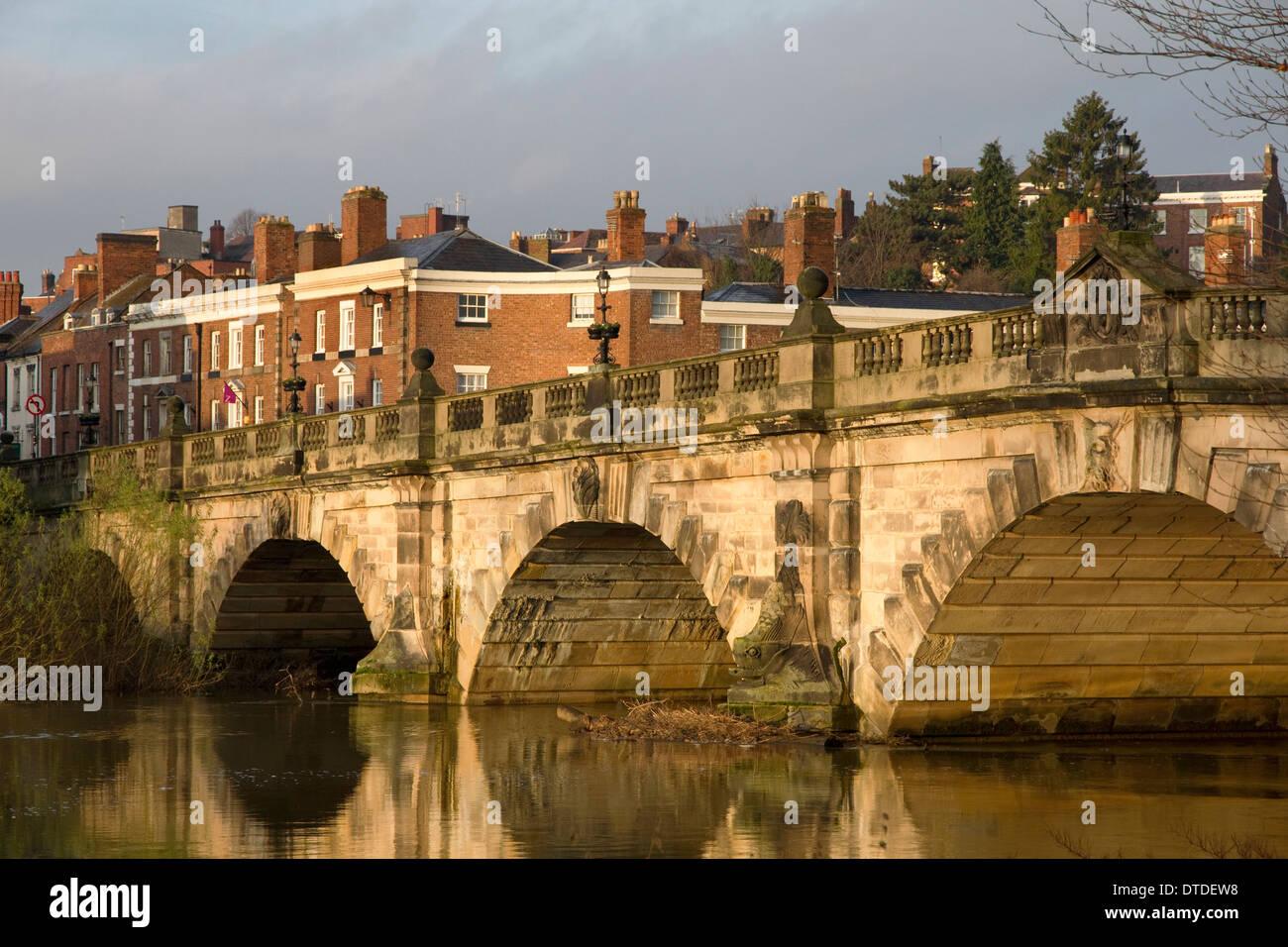 English Bridge over River Severn, Shrewsbury, Shropshire, England, UK - Stock Image
