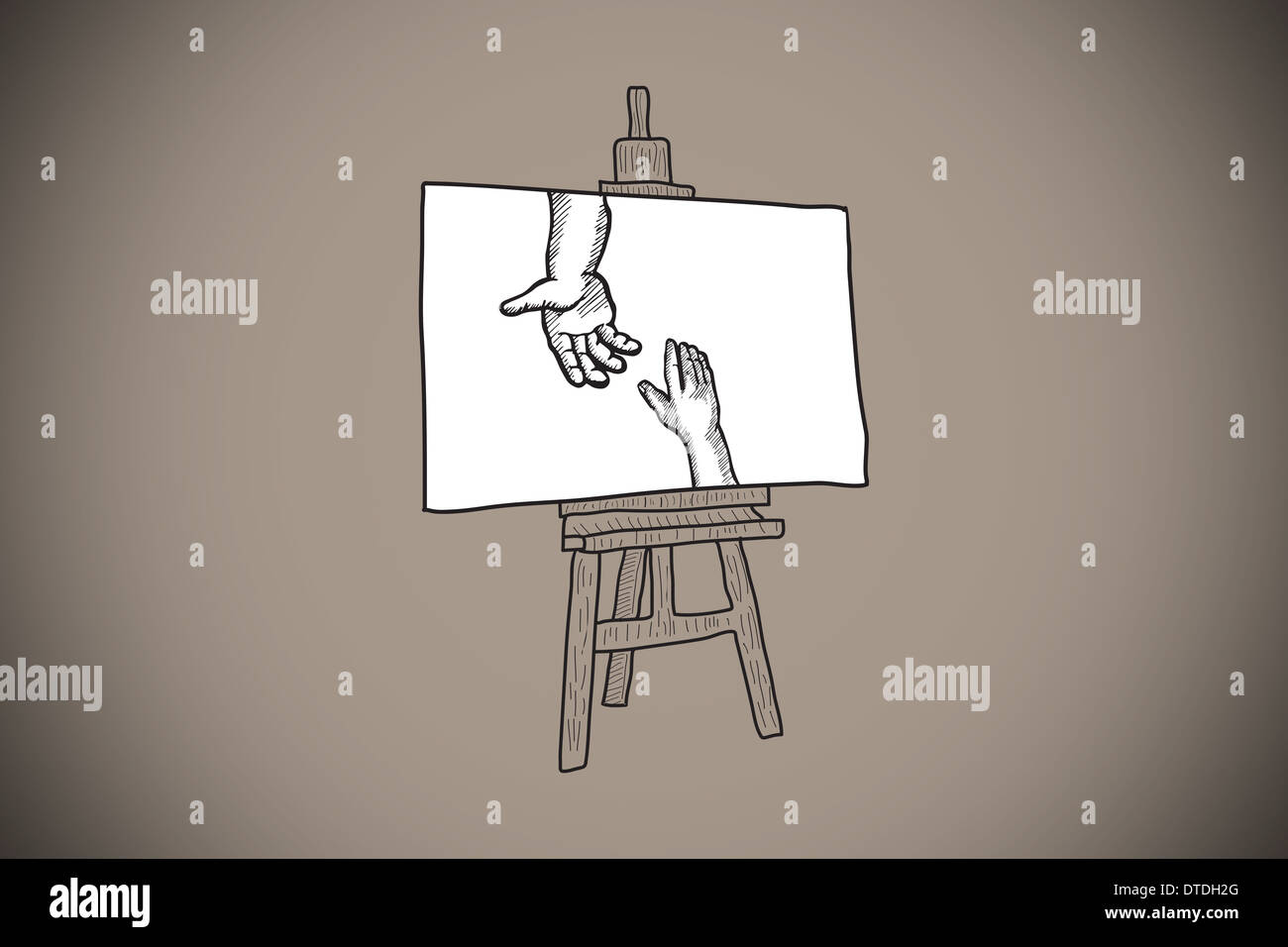Composite image of hands joining doodle on easel - Stock Image
