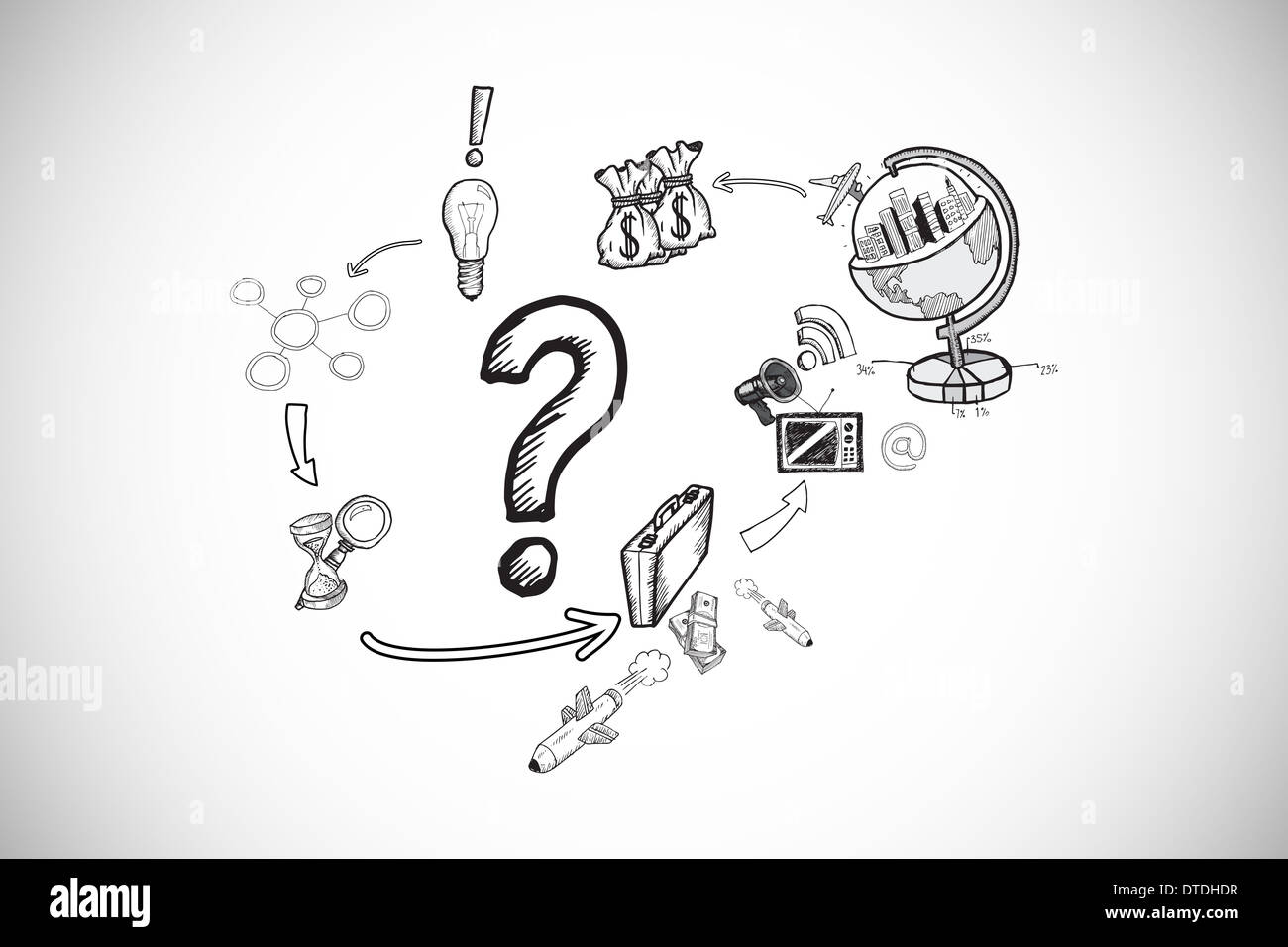 Composite image of question mark with earth and profit doodles - Stock Image