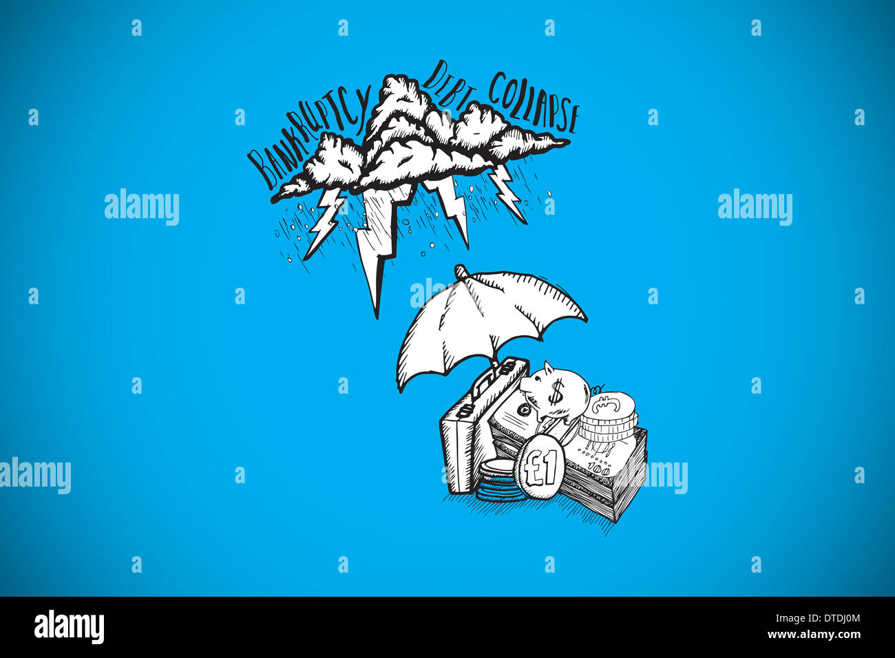 Composite image of umbrella protecting money from debt storm - Stock Image