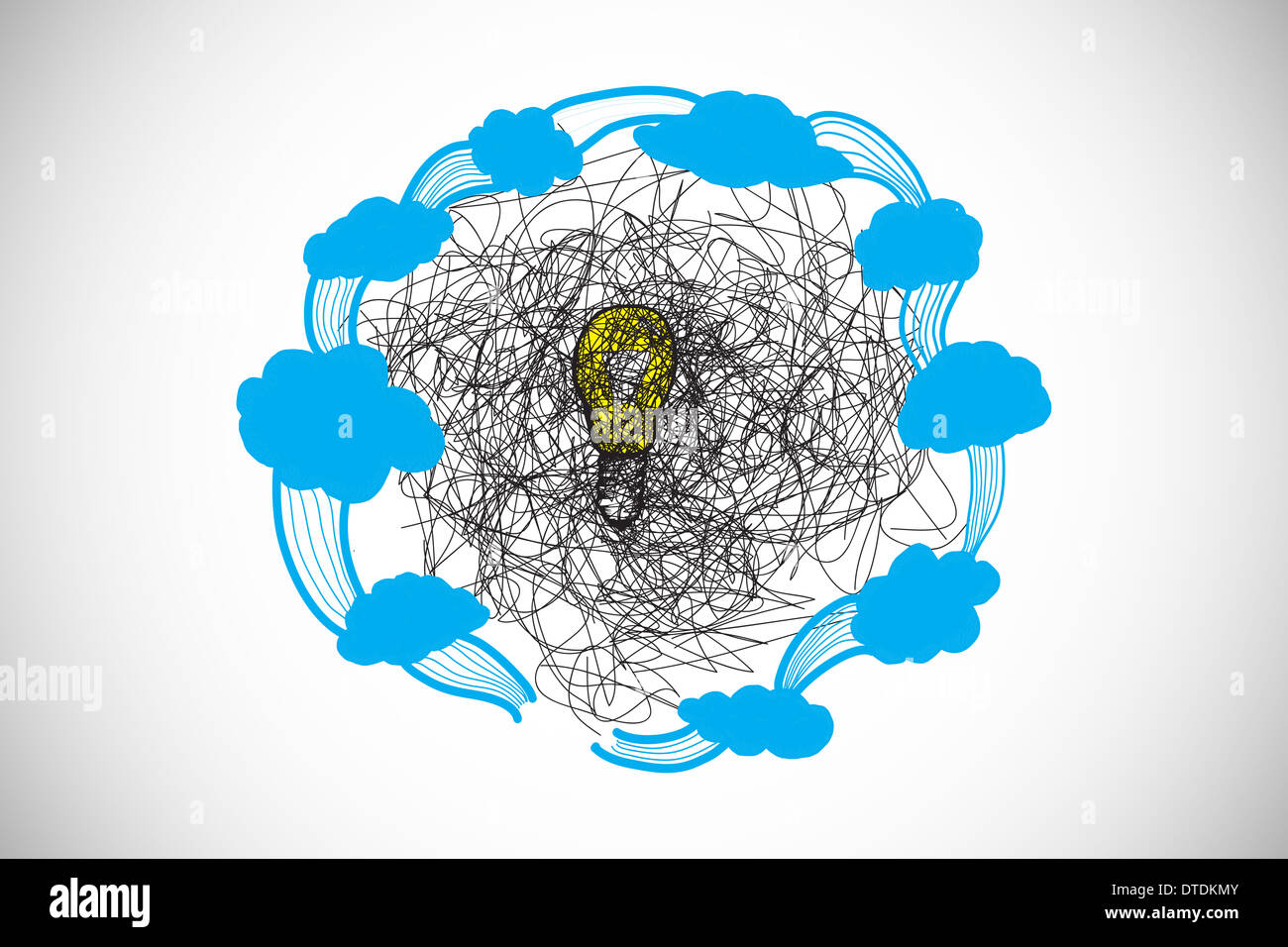 Composite image of scribble over light bulb with clouds doodle - Stock Image