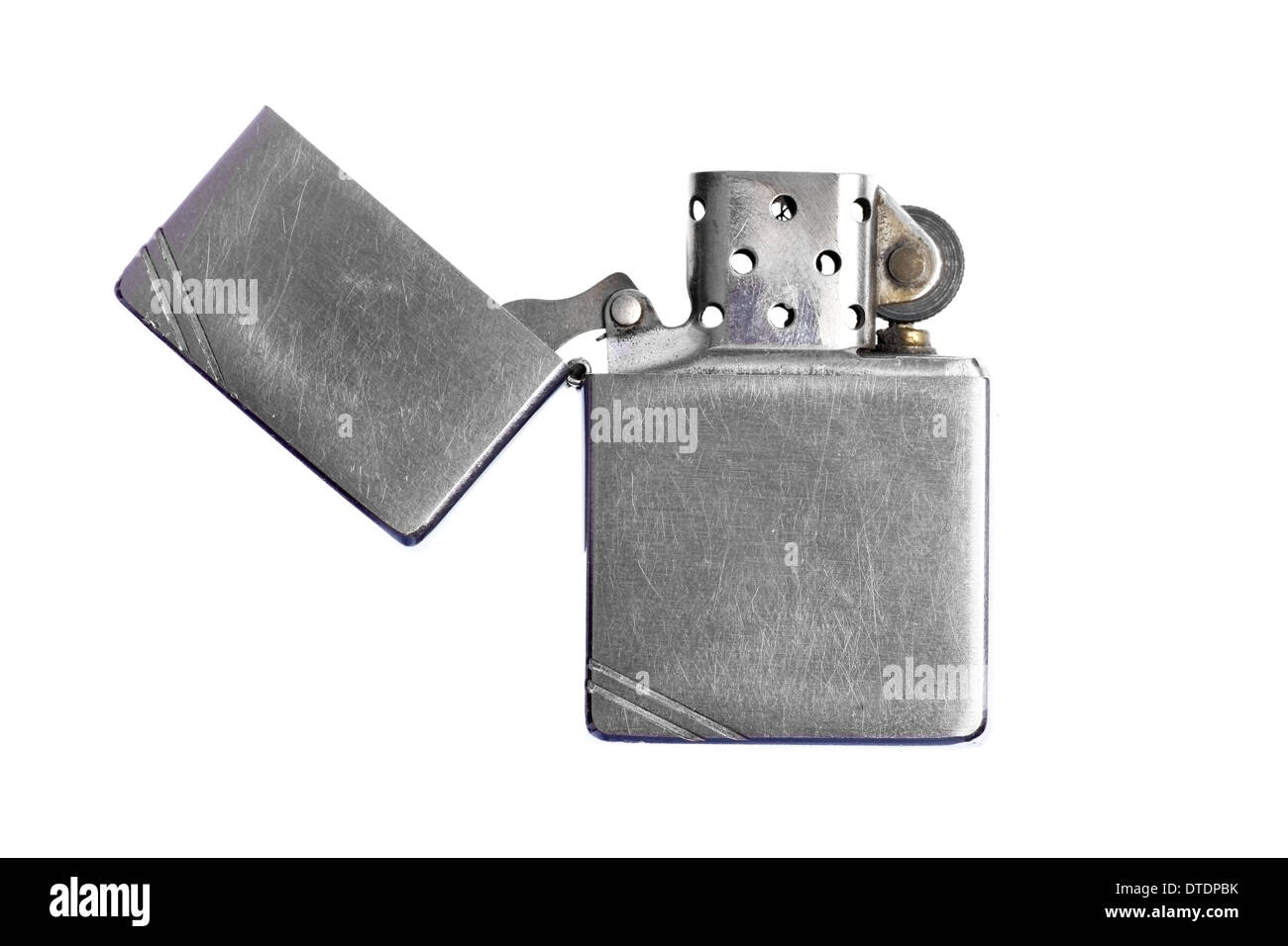 Used vintage metal lighter isolated on white background Stock Photo