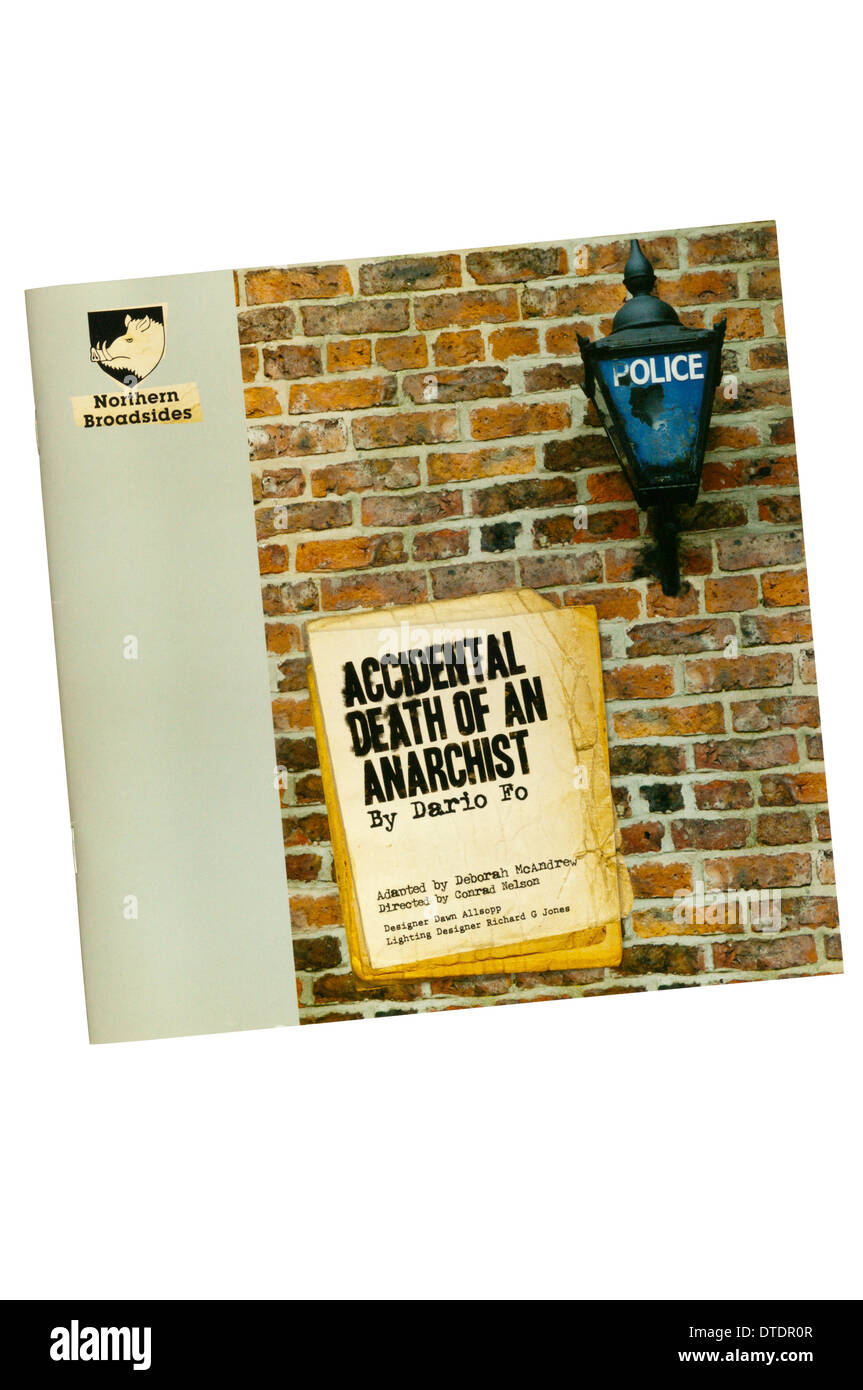 Programme for the 2008 Northern Broadsides production of Accidental Death of an Anarchist by Dario Fo at Greenwich Theatre. - Stock Image