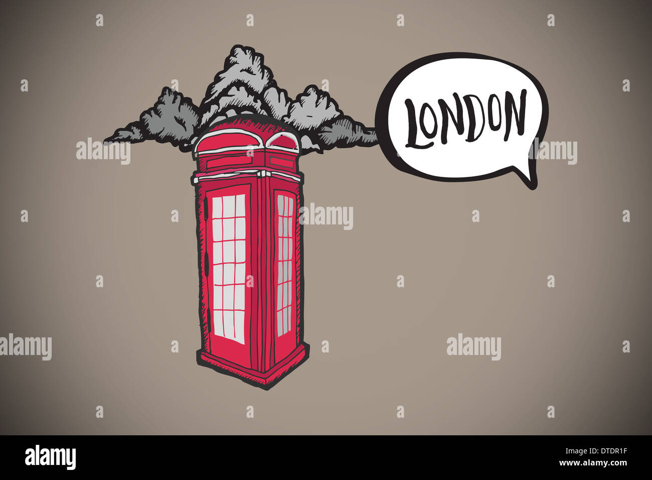 Composite image of london doodle with phone box - Stock Image