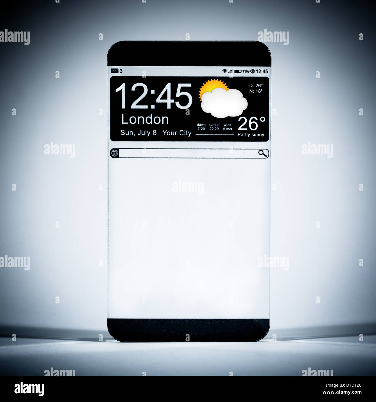 Smartphone with a transparent display. - Stock Image