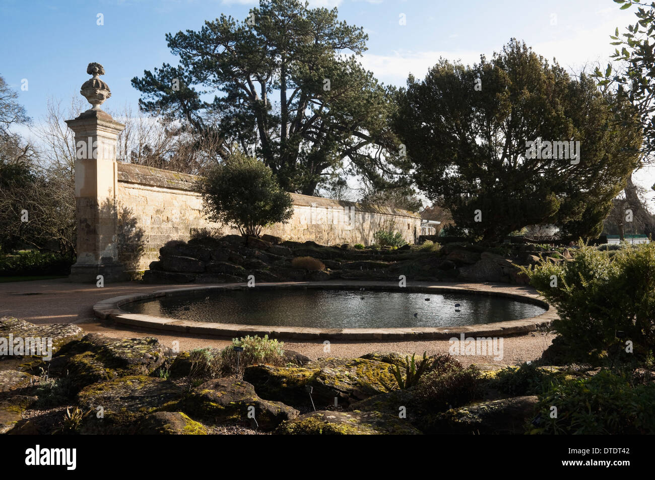 The Oxford Botanic Garden - rock / rockery garden with formal pond and dressed stone wall as backcloth.  UK. - Stock Image