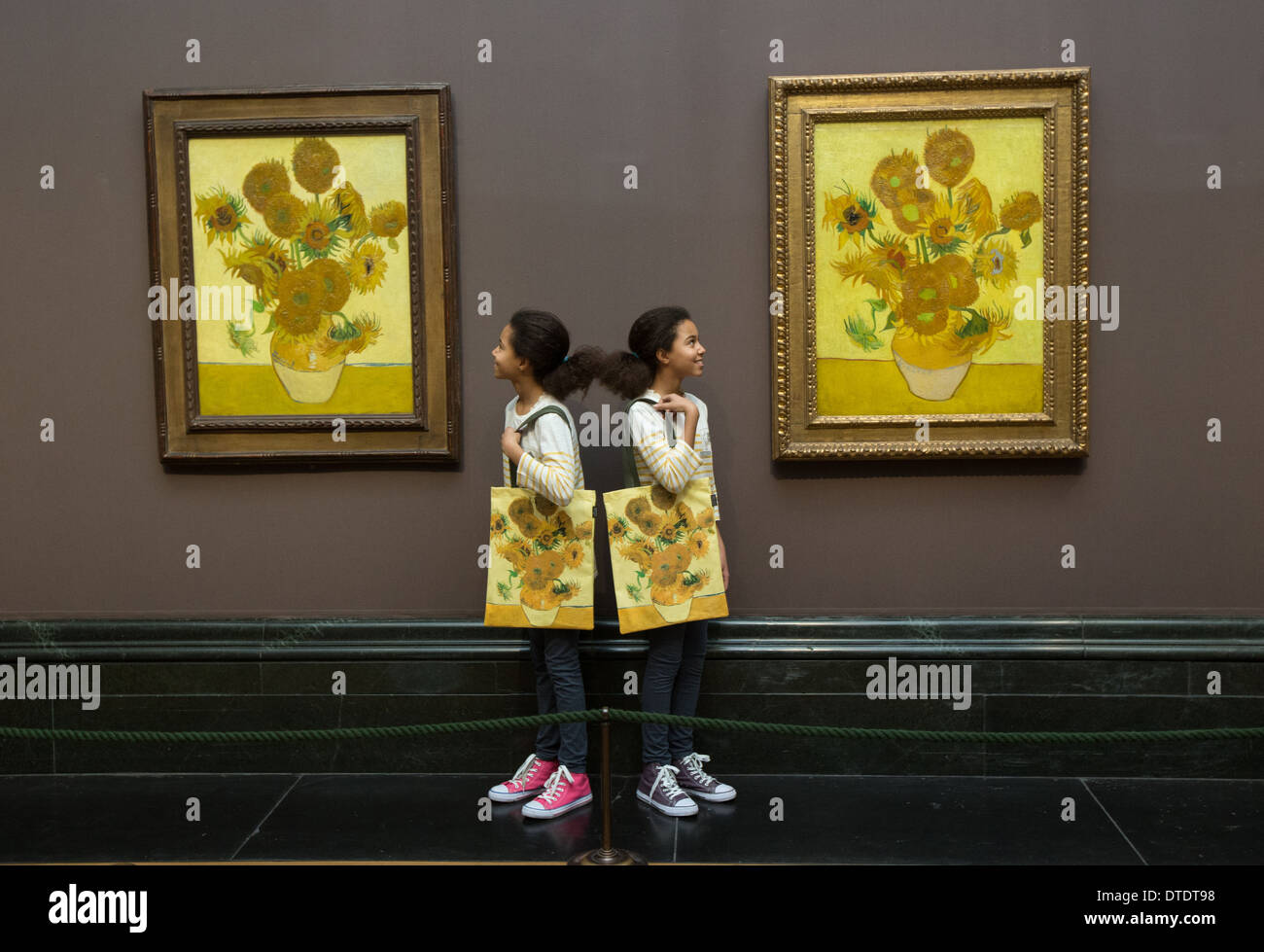 Sunflowers By Vincent Van Gogh at the National gallery - Stock Image