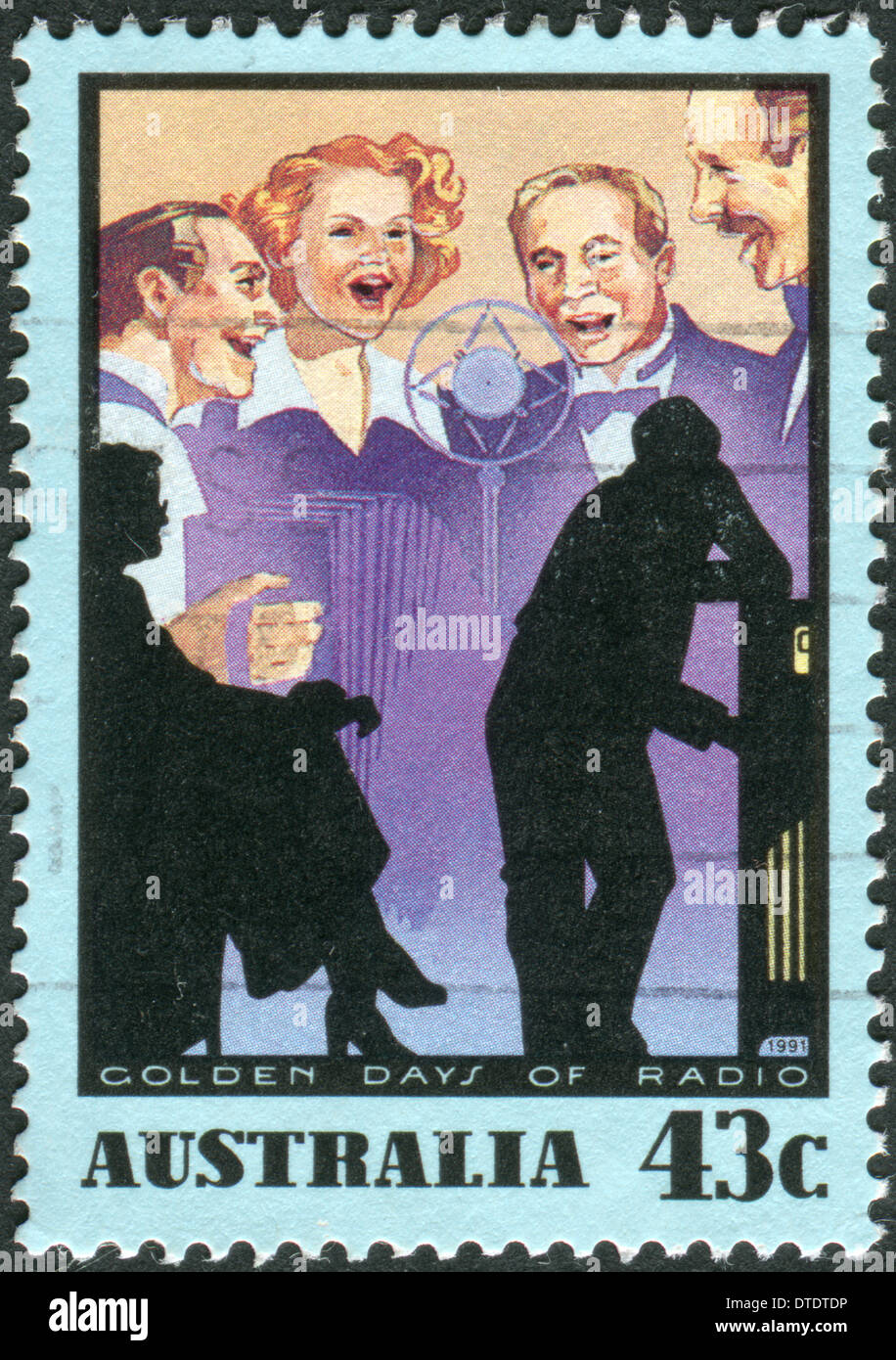 AUSTRALIA - CIRCA 1991: Postage stamp printed in Australia, is dedicated to Golden Days of Radio: Soap operas, circa 1991 - Stock Image