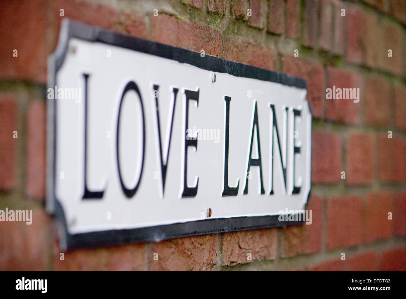 Love lane street name in Weymouth,Dorset. - Stock Image