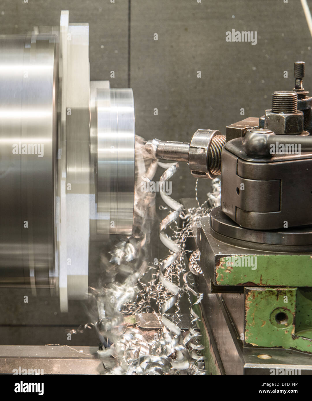 a Lathe Metal tooling shop floor - Stock Image