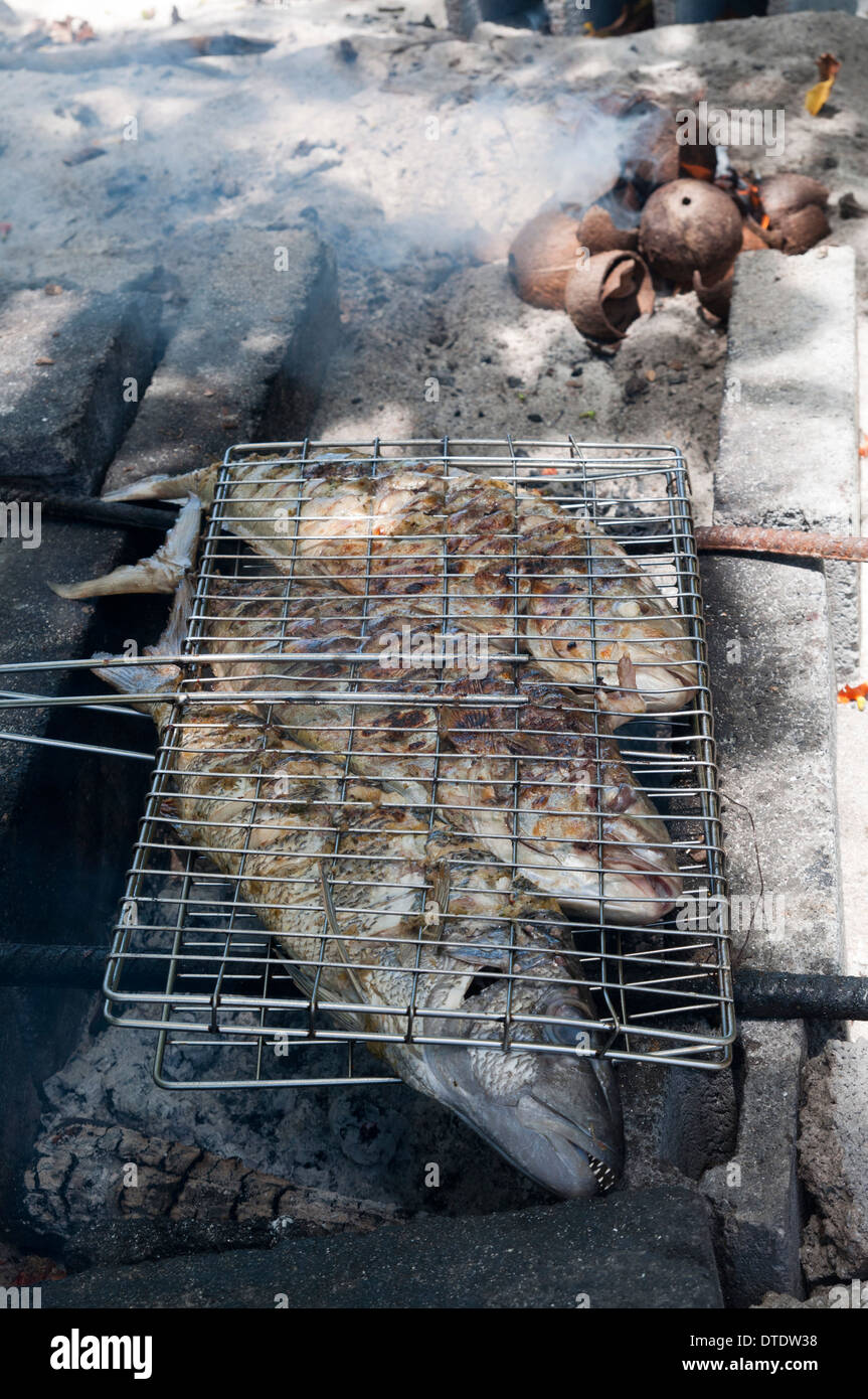 Grilled fishes. Felicite Island, Seychelles. - Stock Image