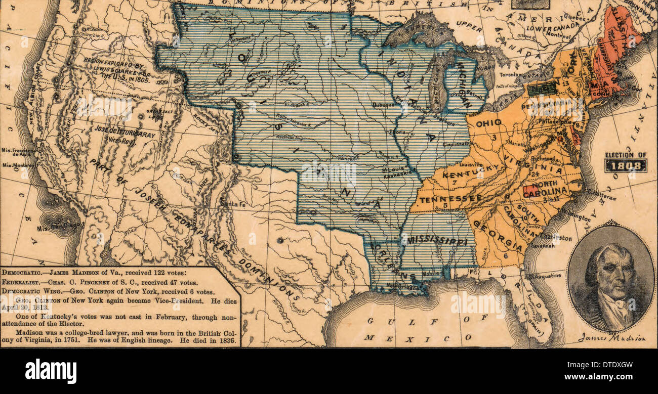 USA Presidential Election 1808 - Democratic candidate James Madison was the winner with 122 Electoral votes - Stock Image