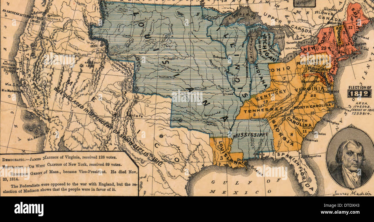Presidential Election of 1812 - Democratic President James Madison won with 128 votes over Federalist De Witt Clinton with 89 - Stock Image