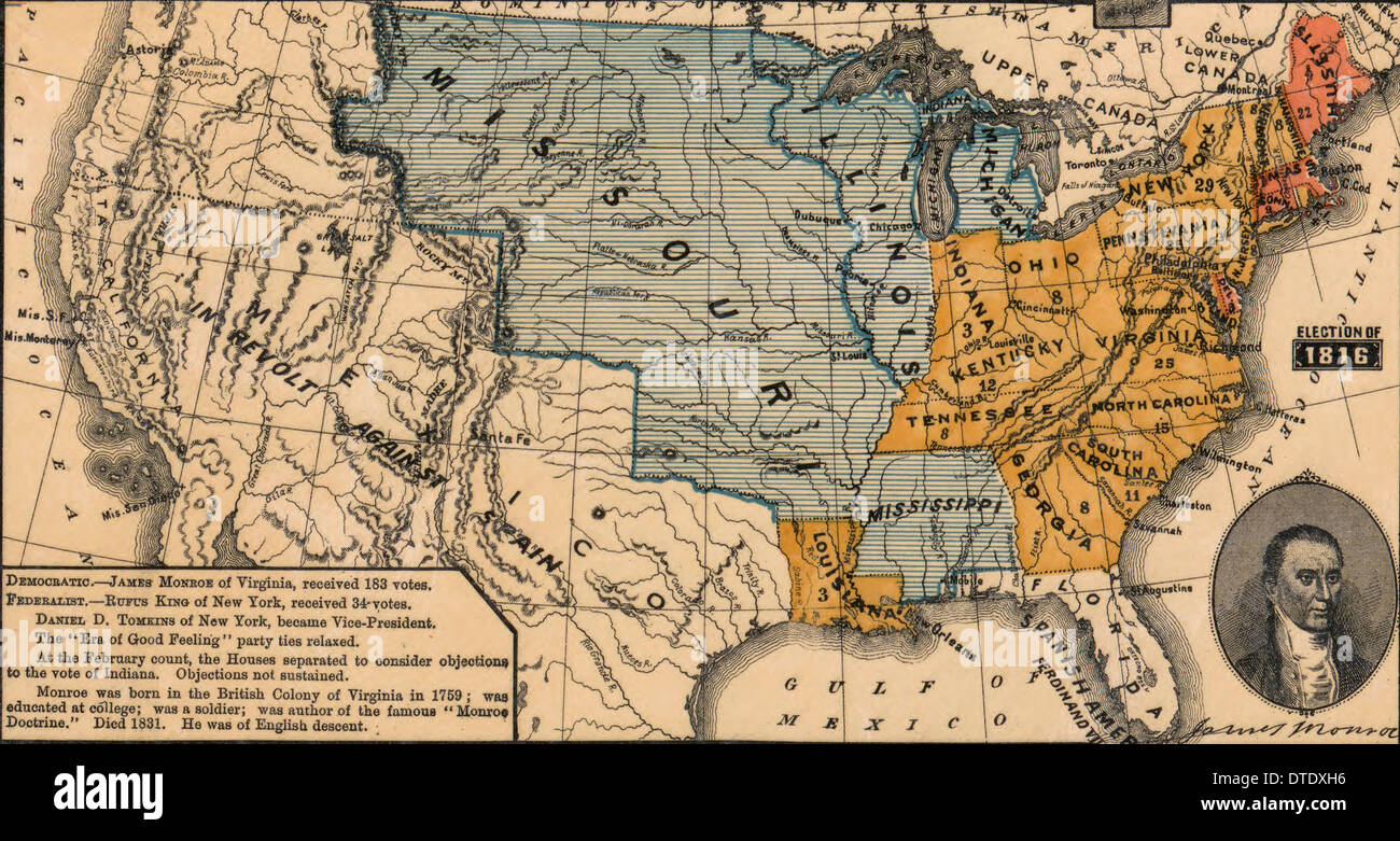 USA Presidential election of 1816 in which Democratic Candidate James  Monroe defeated Federalist Candidate Rufus King 183 Electoral Votes to 34.