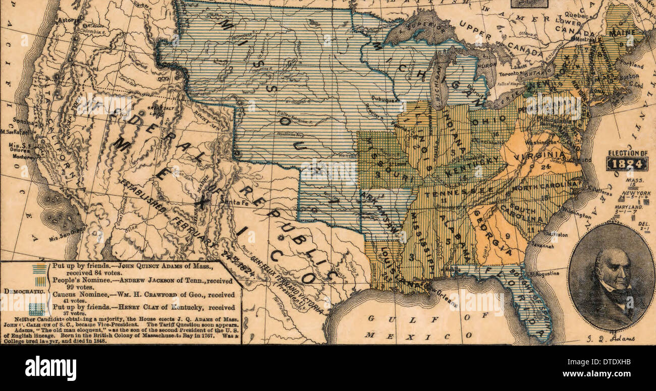 USA Election of 1824 in which John Quincy Adams is elected President.  The election was decided in the House of Representatives - Stock Image