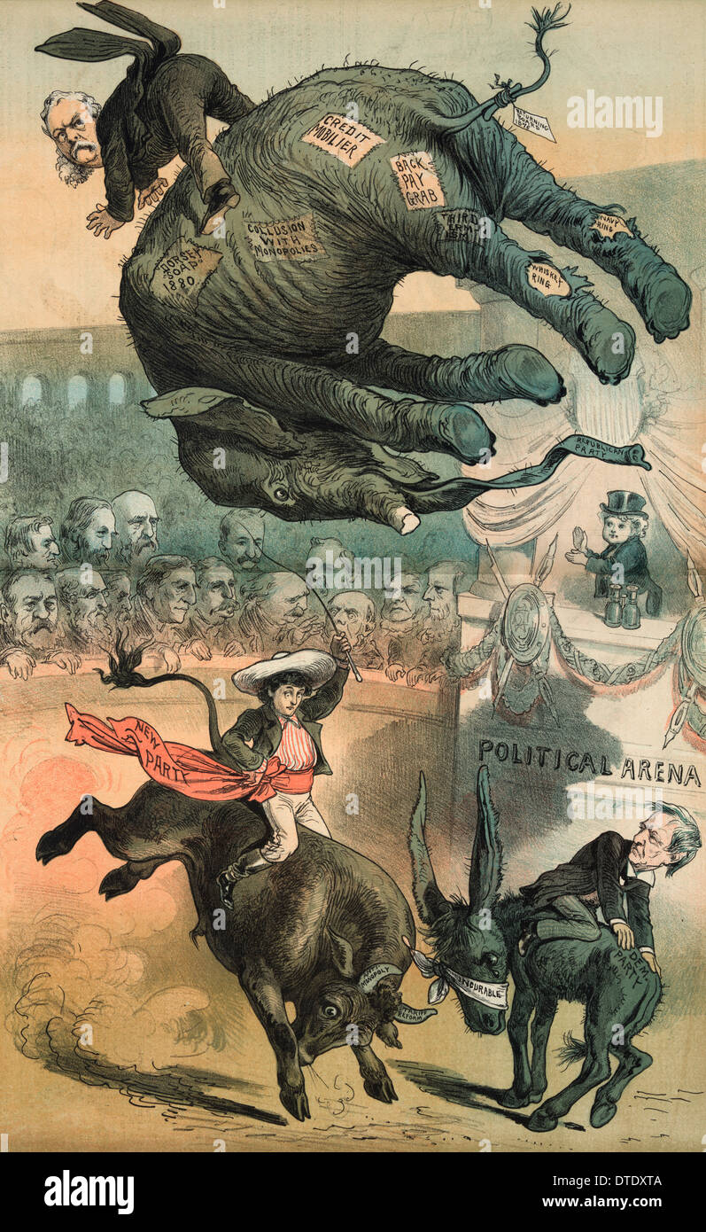 Political cartoon 1882 Chester A. Arthur riding the Republican elephant tossed high in the air in a 'Political Arena' - Stock Image