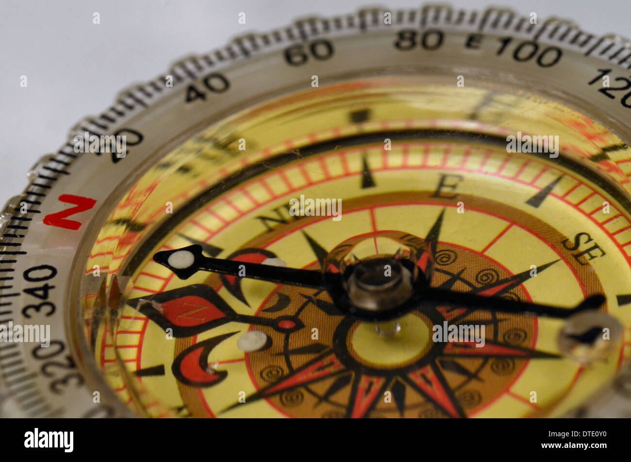 Survival skills concept - Close-up of compass rose and magnetic bearing. Concept navigation. Stock Photo