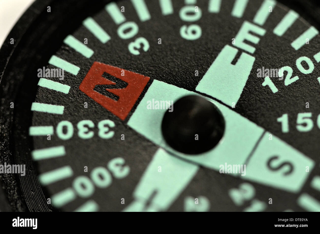 Survival skills concept - Extreme close-up of compass rose and magnetic bearing. Concept navigation. - Stock Image