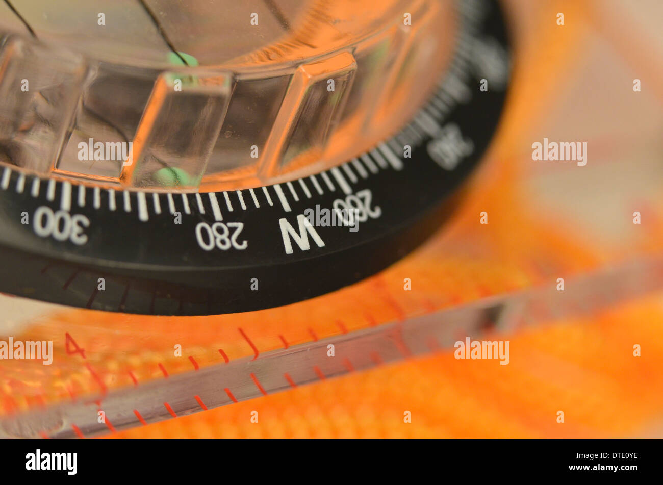 Survival skills concept - Close-up of compass rose segment. Concept navigation. - Stock Image