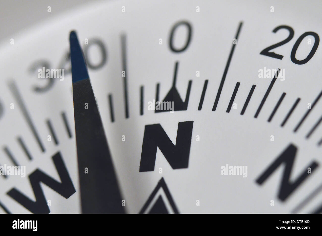 Finding your direction / Survival skills concept - Close-up of compass rose and magnetic bearing. Concept navigation. - Stock Image