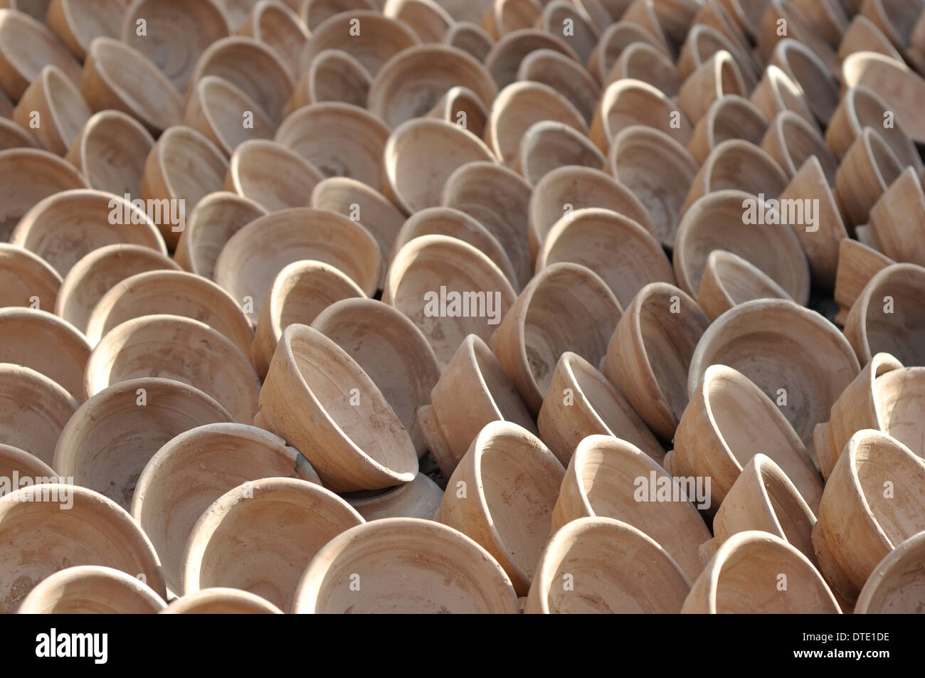A selection of handmade pottery clay bowls, Marrakesh Morocco - Stock Image