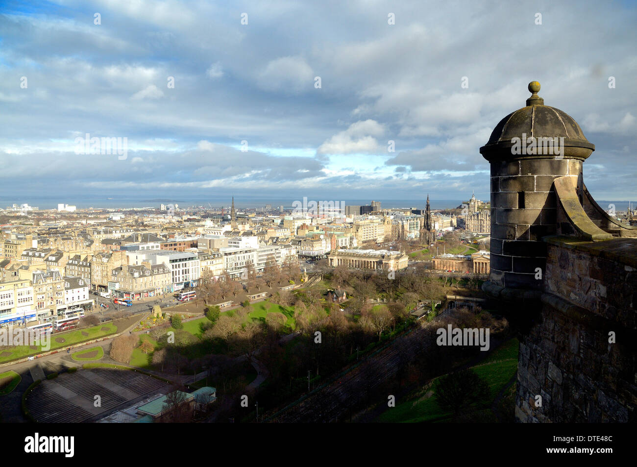 View over the New Town of Edinburgh to the Firth of Forth from Edinburgh Castle, Scotland Stock Photo