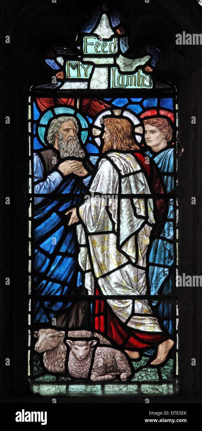 Stained glass window by Henry Holiday, depicting Jesus's Charge to St Peter, St Andrew's Church, Old Cleeve, Somerset, England - Stock Image