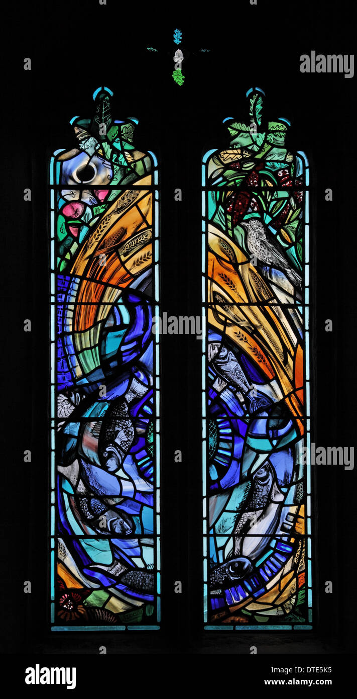 Modern Stained glass window by the Frankie Pollack - Stock Image